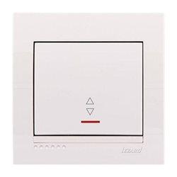 Выключатель проходной 1-клавишный с подсветкой цвет белый, Lezard Deriy 702-0202-114