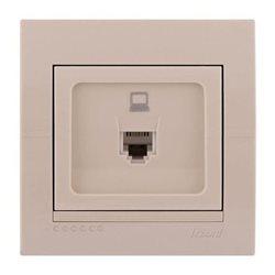 Розетка компьютерная цвет кремовый, Lezard Deriy 702-0303-139