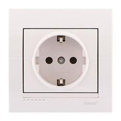 Розетка с заземлением цвет белый, Lezard Deriy 702-0202-122B