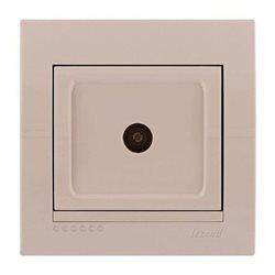 Розетка ТВ проходная цвет кремовый, Lezard Deriy 702-0303-129