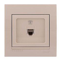 Розетка телефонная цвет кремовый, Lezard Deriy 702-0303-137