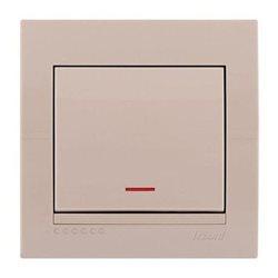 Выключатель проходной 1-клавишный с подсветкой цвет кремовый, Lezard Deriy 702-0303-114