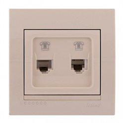 Розетка телефонная двойная цвет кремовый, Lezard Deriy 702-0303-138