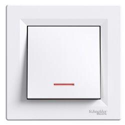 Выключатель 1-кл. с подсветкой, цвет белый, Asfora