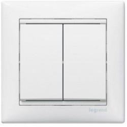 Механізм вимикача Legrand 2-кл білий Валена 774405