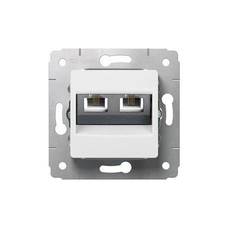 Механизм розетки телефонной 2хRJ11, цвет белый, Legrand Cariva 773639
