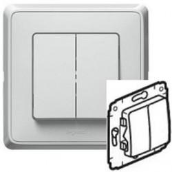 Механизм переключателя 2-кл. белый Cariva