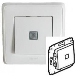 Механизм выключателя 1-кл.с подсветкой 10А, белый Cariva