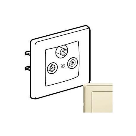 Механизм розетки ТВ-Спутник проходной 2150МГц, цвет слоновая кость, Legrand Cariva 773736